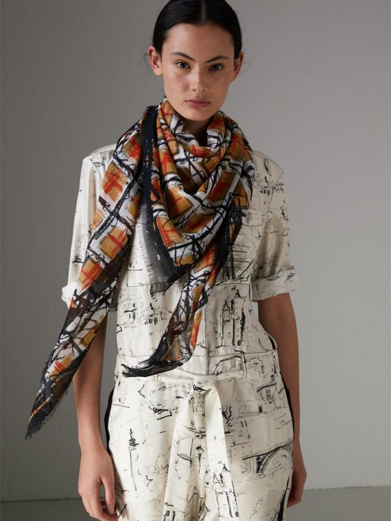 Scribble Check Print Cotton Square Scarf in Antique Yellow | Burberry - cell image 3