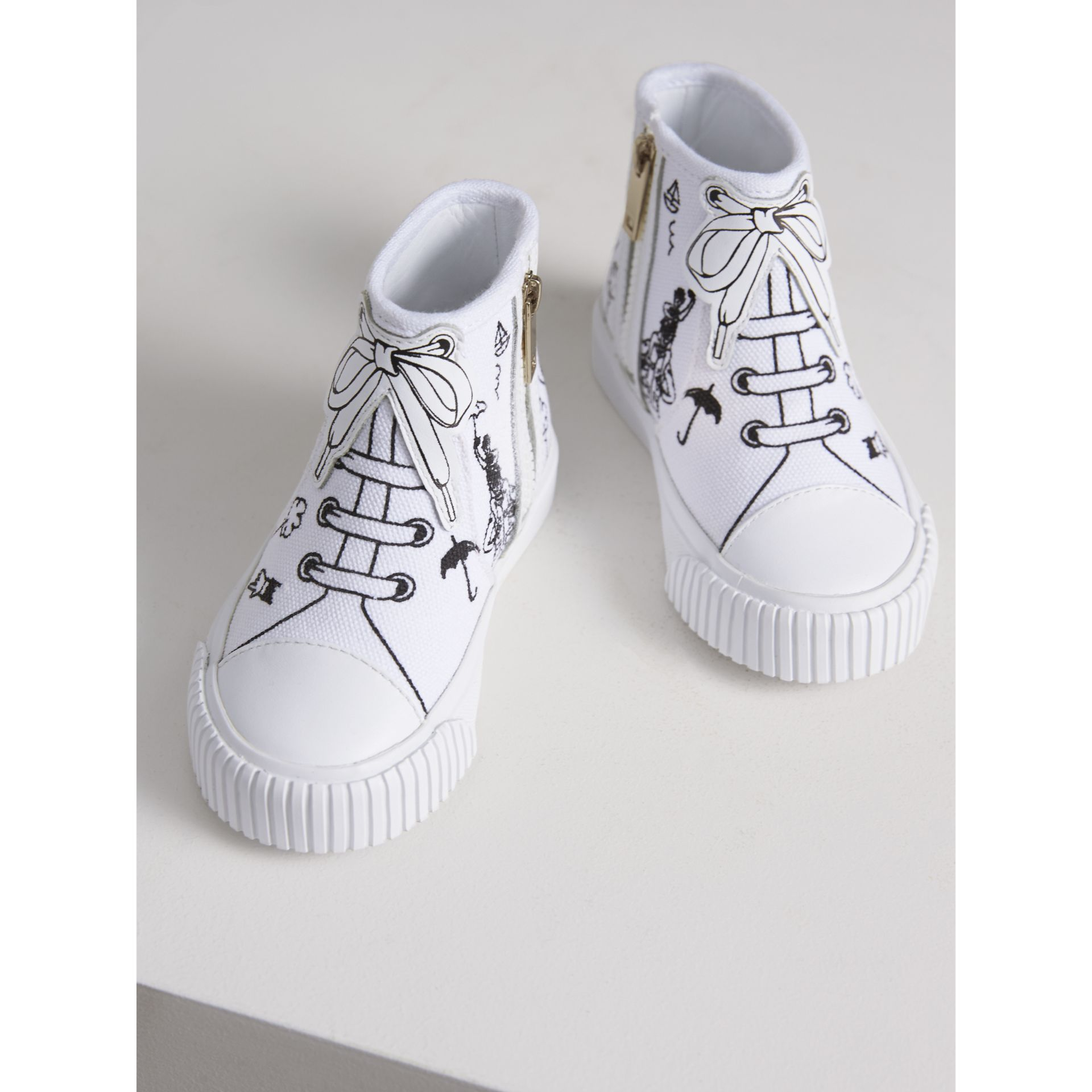 Doodle Print High-top Trainers in Optic White | Burberry Australia - gallery image 4