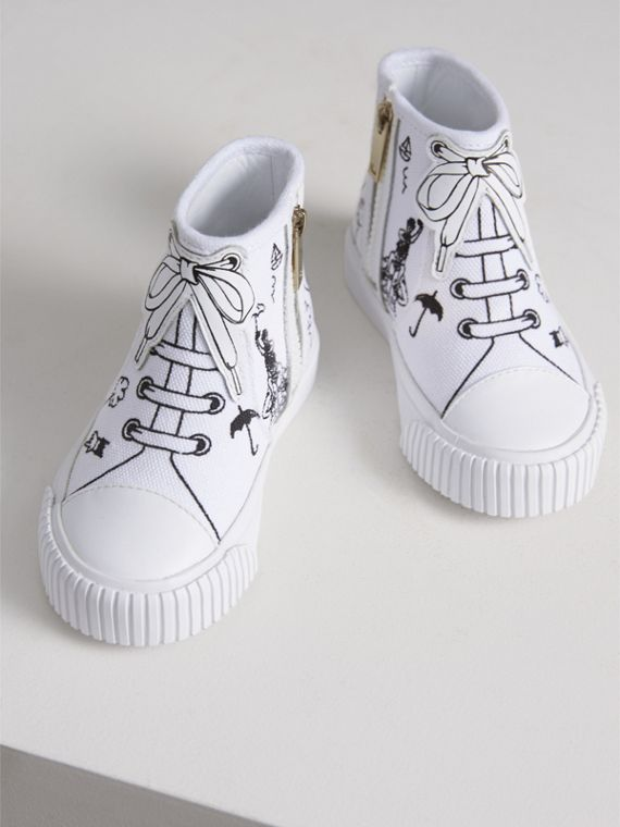 Doodle Print High-top Trainers in Optic White | Burberry - cell image 3