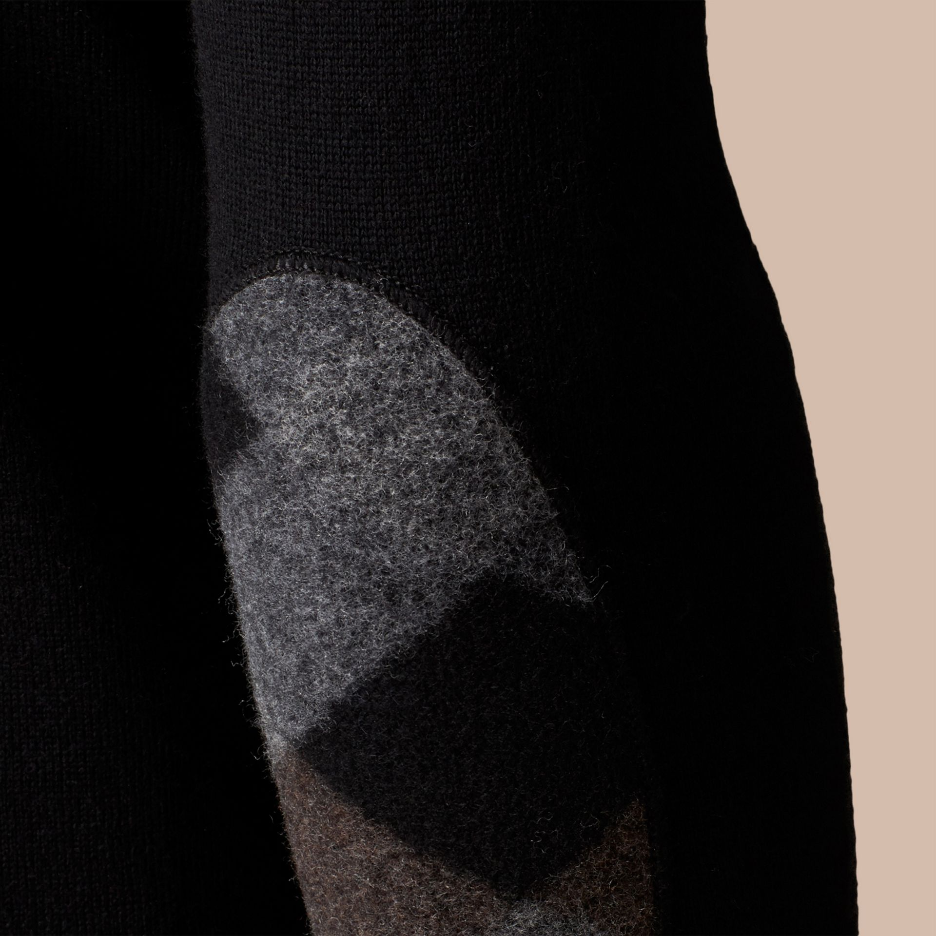 Black Check Elbow Detail Wool Sweater Black - gallery image 2