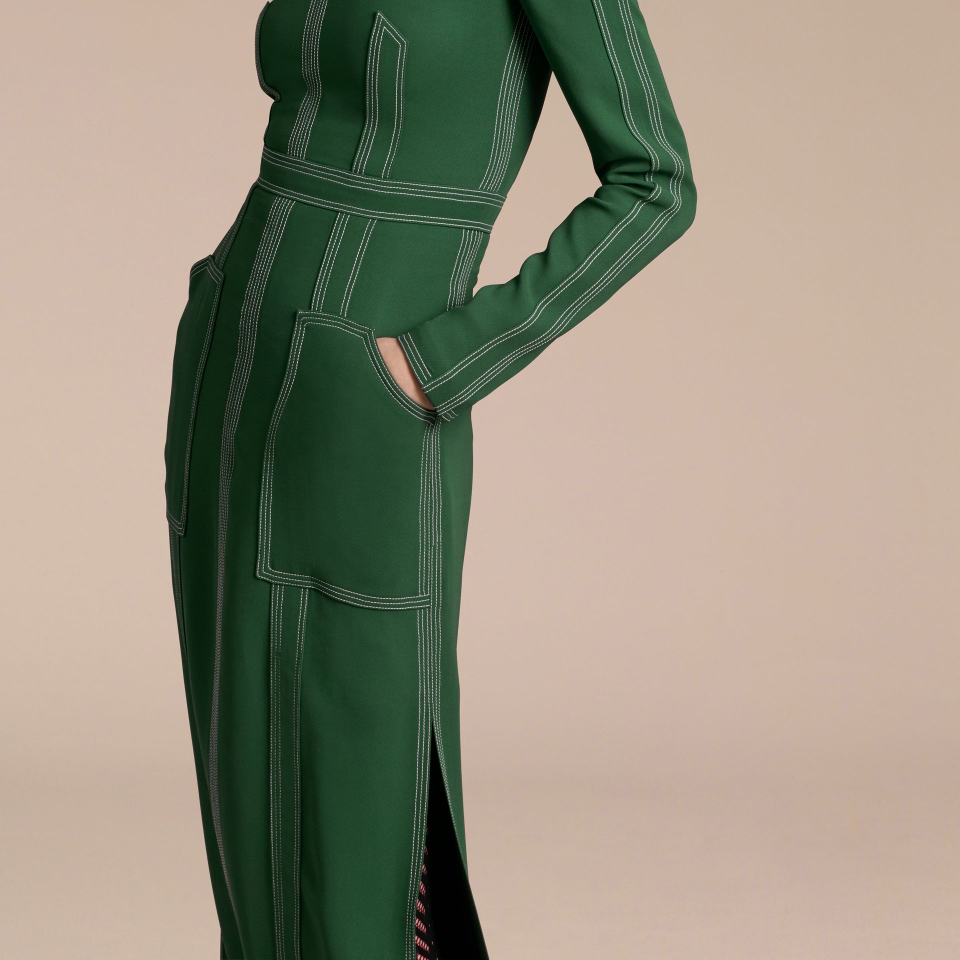 Deep green Topstitch Detail Georgette Dress with Knitted Collar - gallery image 6