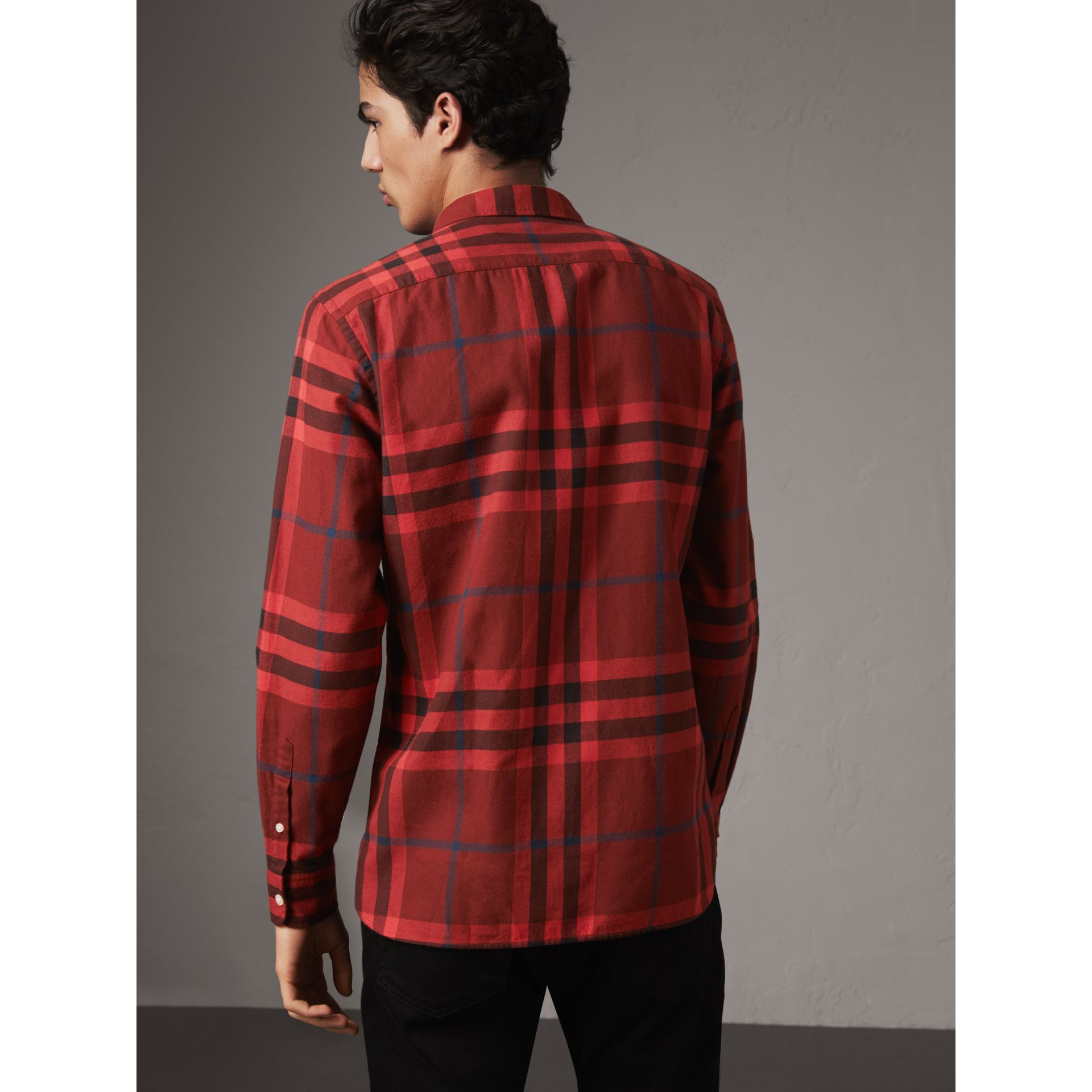 Check Cotton Flannel Shirt in Mahogany Red - Men | Burberry Australia - gallery image 3
