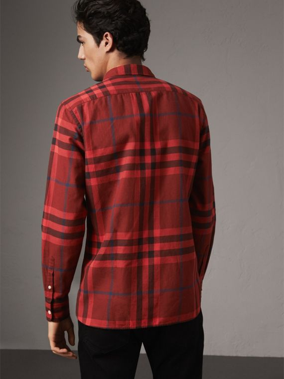 Check Cotton Flannel Shirt in Mahogany Red - Men | Burberry - cell image 2