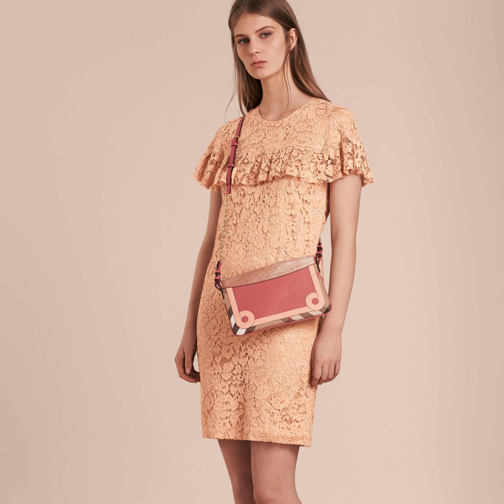 House Check and Leather Clutch Bag in Copper Pink - gallery image 3