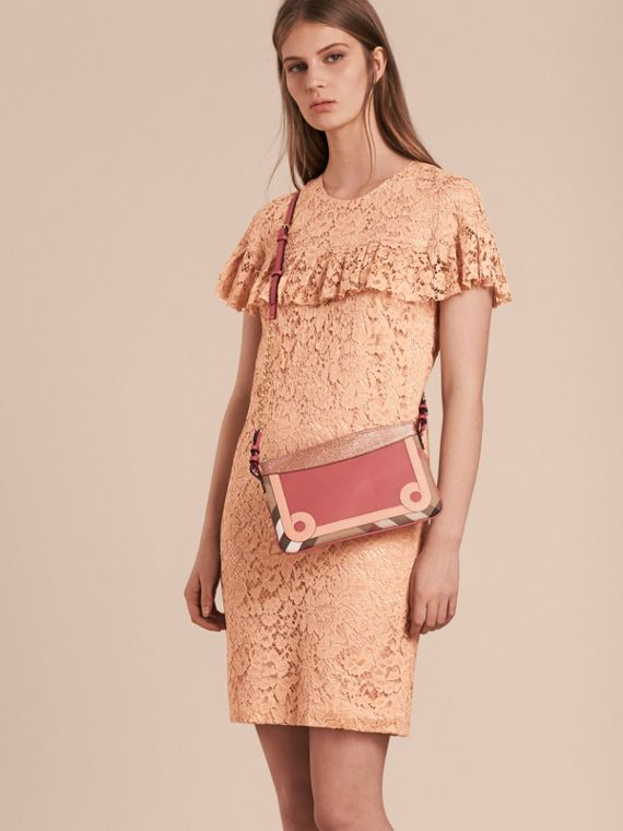 House Check and Leather Clutch Bag in Copper Pink - cell image 2