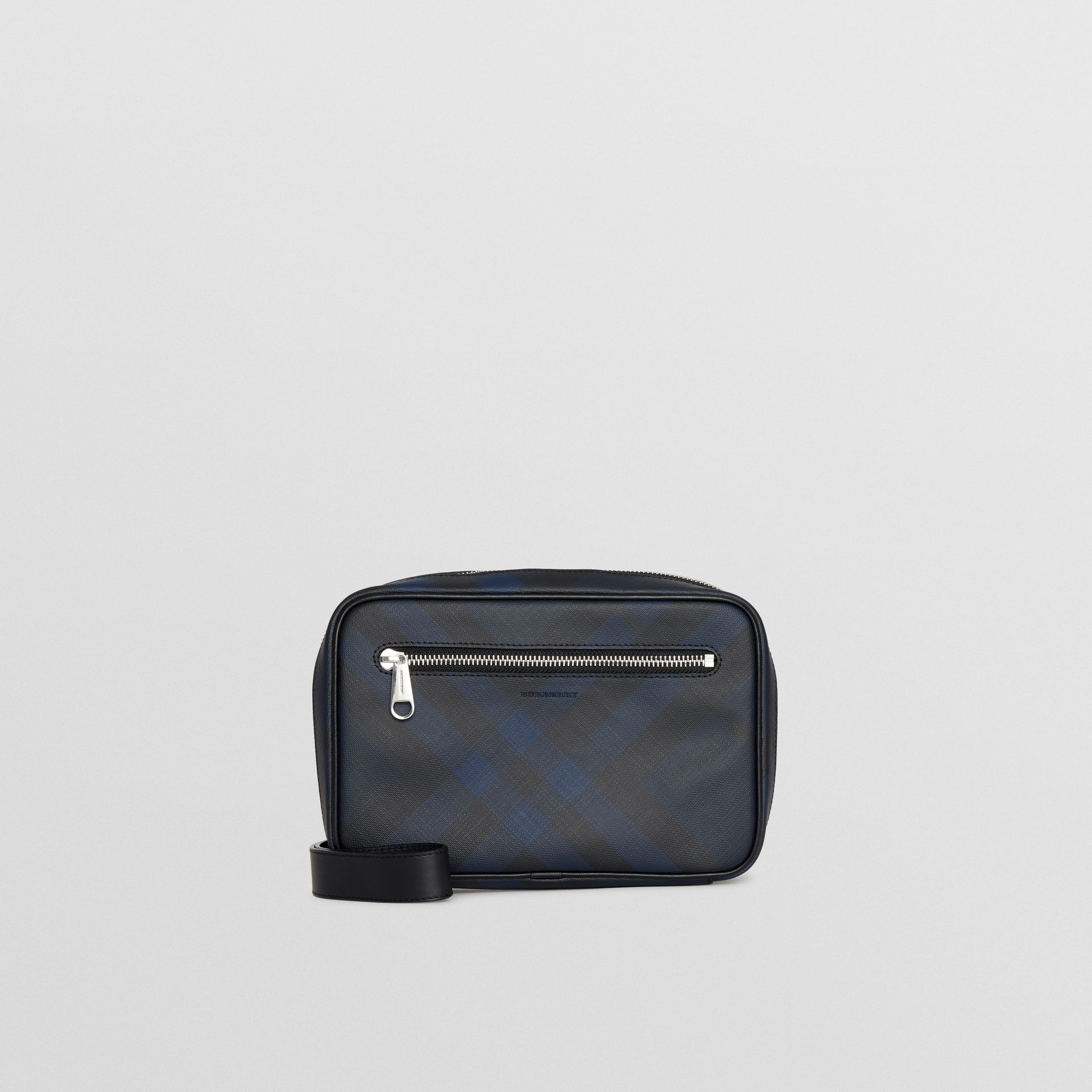 London Check Travel Pouch in Navy/black - Men | Burberry Australia - gallery image 0
