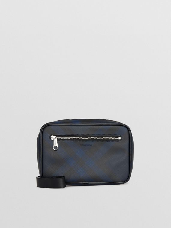 London Check Travel Pouch in Navy/black