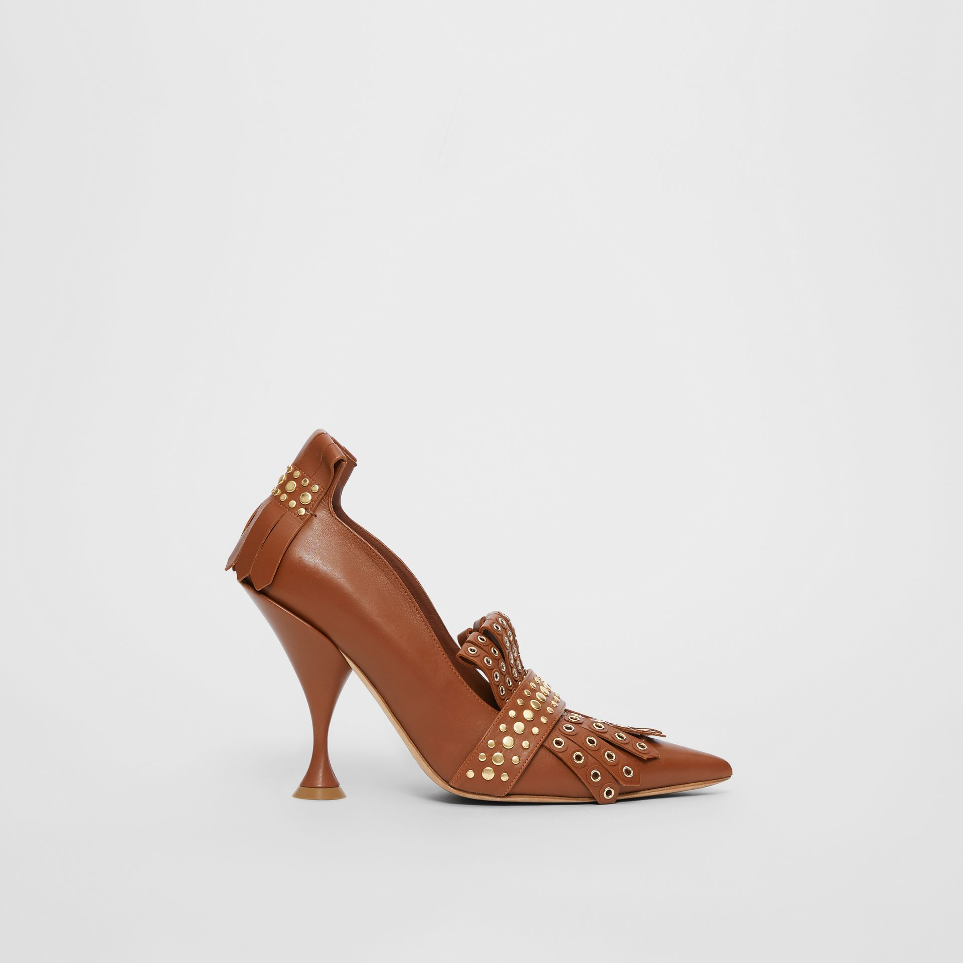 Studded Kiltie Fringe Leather Point-toe Pumps in Tan - Women | Burberry - gallery image 5