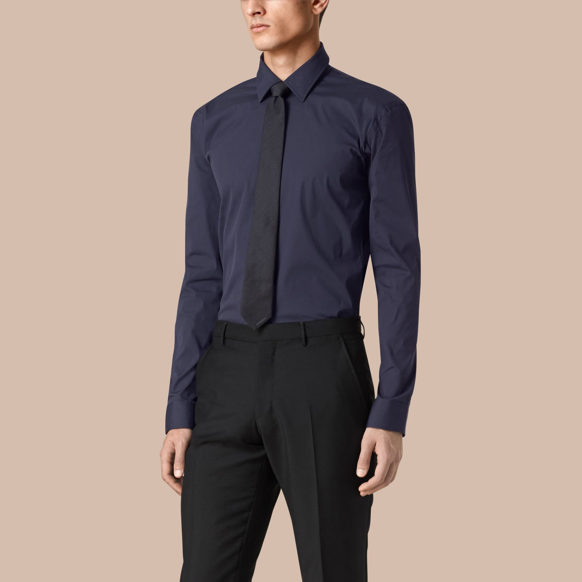 Modern Fit Stretch Cotton Shirt in Navy - Men | Burberry - gallery image 1