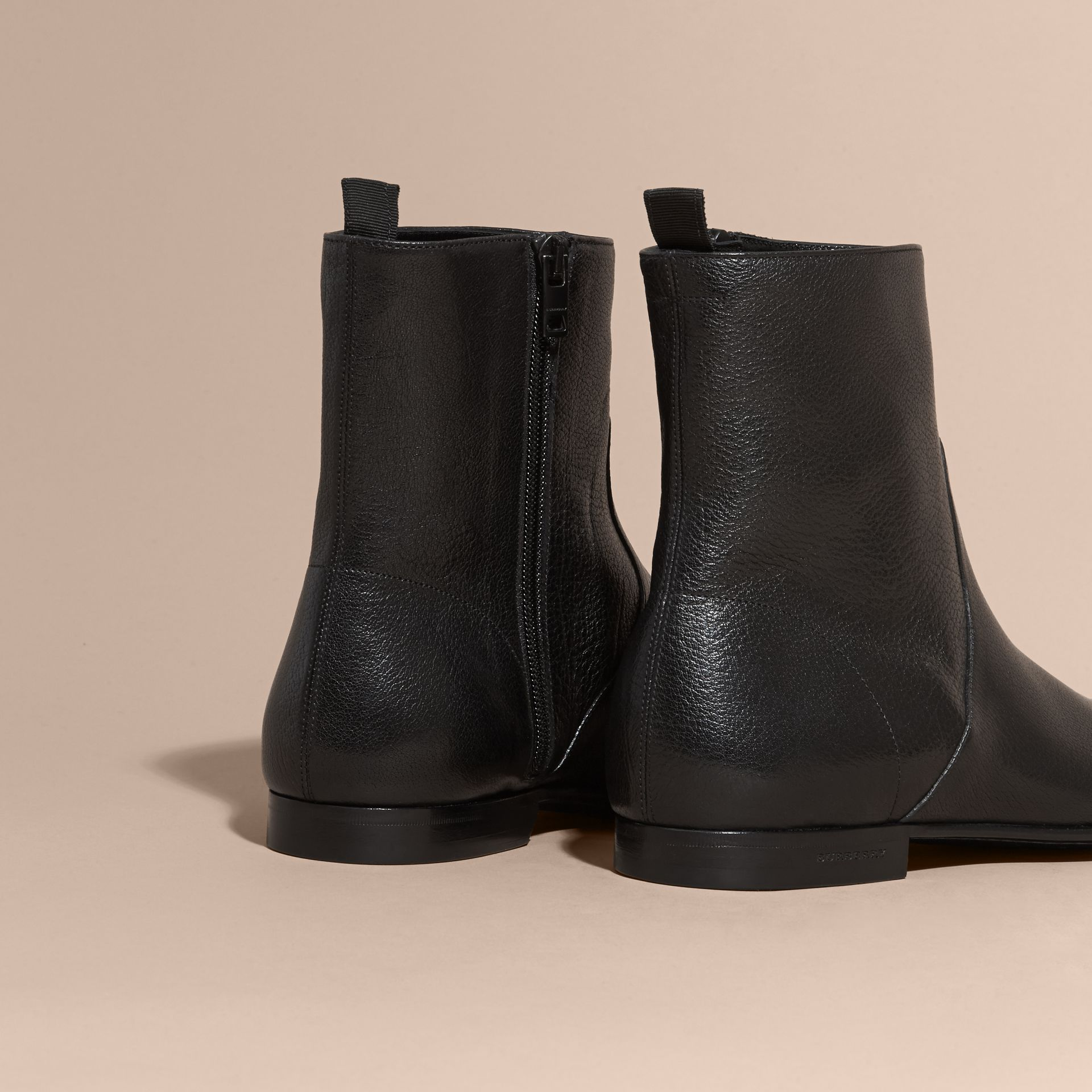 Black Leather Ankle Boots - gallery image 4
