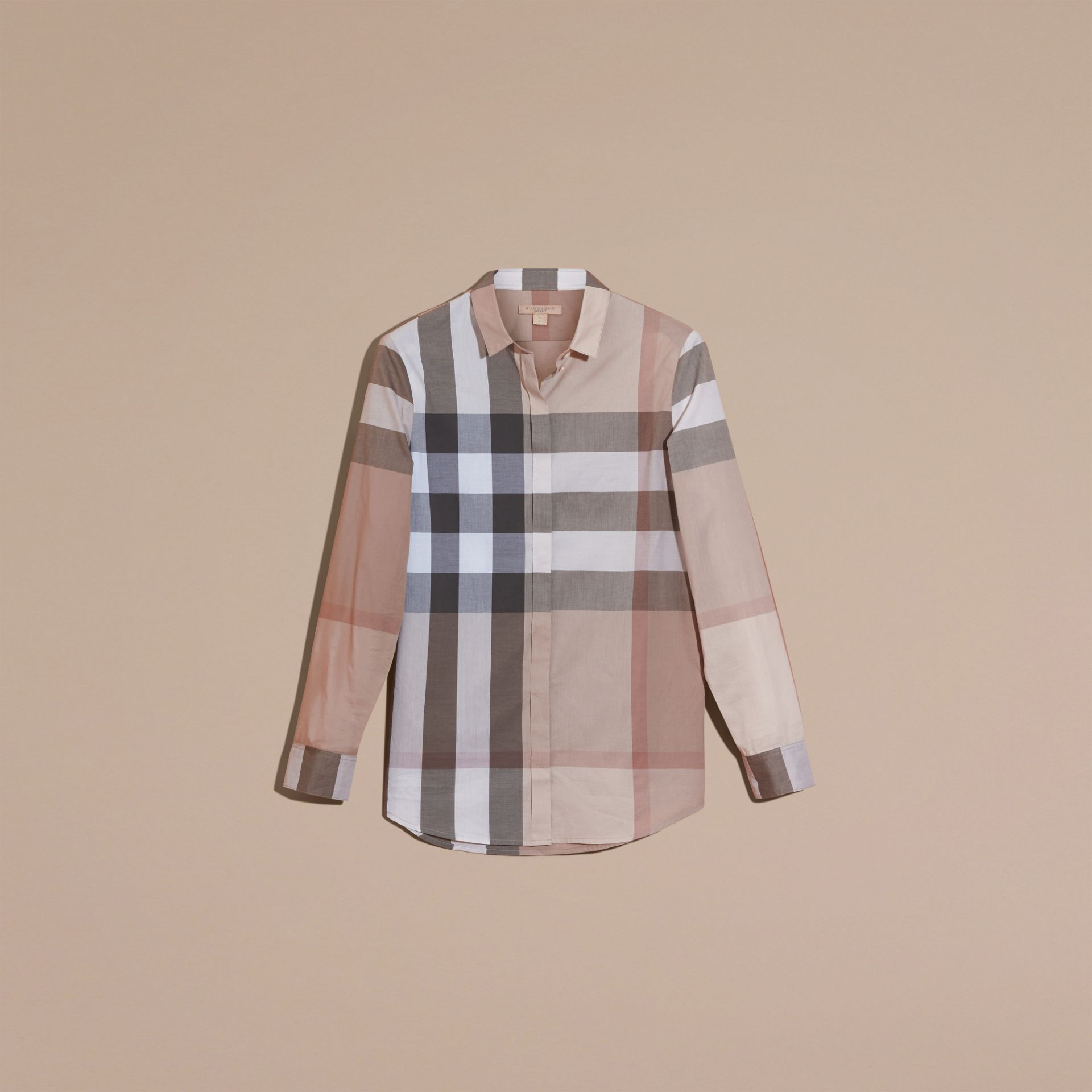 Check Cotton Shirt in Pale Stone - Women | Burberry - gallery image 4