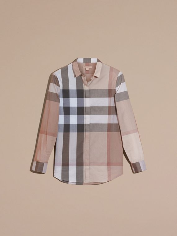 Check Cotton Shirt in Pale Stone - Women | Burberry - cell image 3