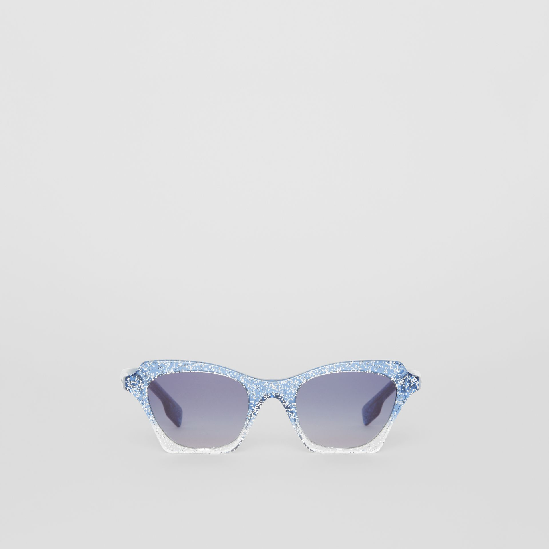 Butterfly Frame Sunglasses in Blue - Women | Burberry Australia - gallery image 0