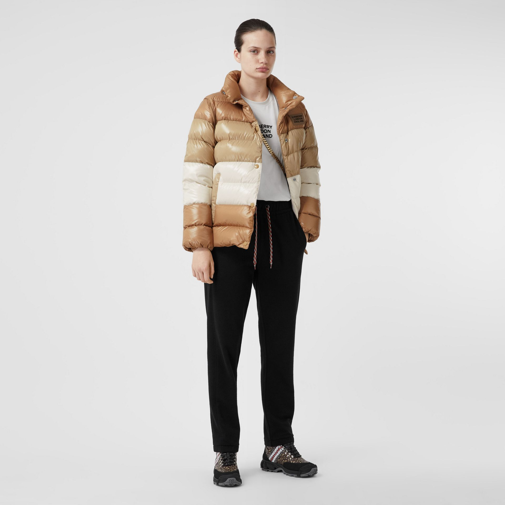 Panelled Nylon Puffer Jacket with Detachable Sleeves in Soft Camel - Women | Burberry - gallery image 0