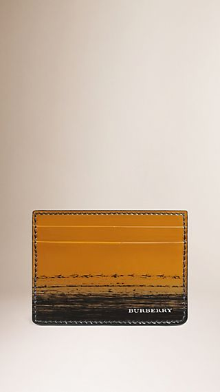 Striped Patent Leather Card Case