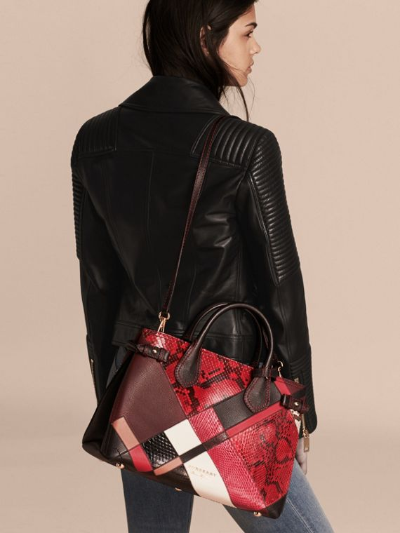 The Medium Banner in Patchwork Python and Leather in Pink - Women | Burberry United States - cell image 3