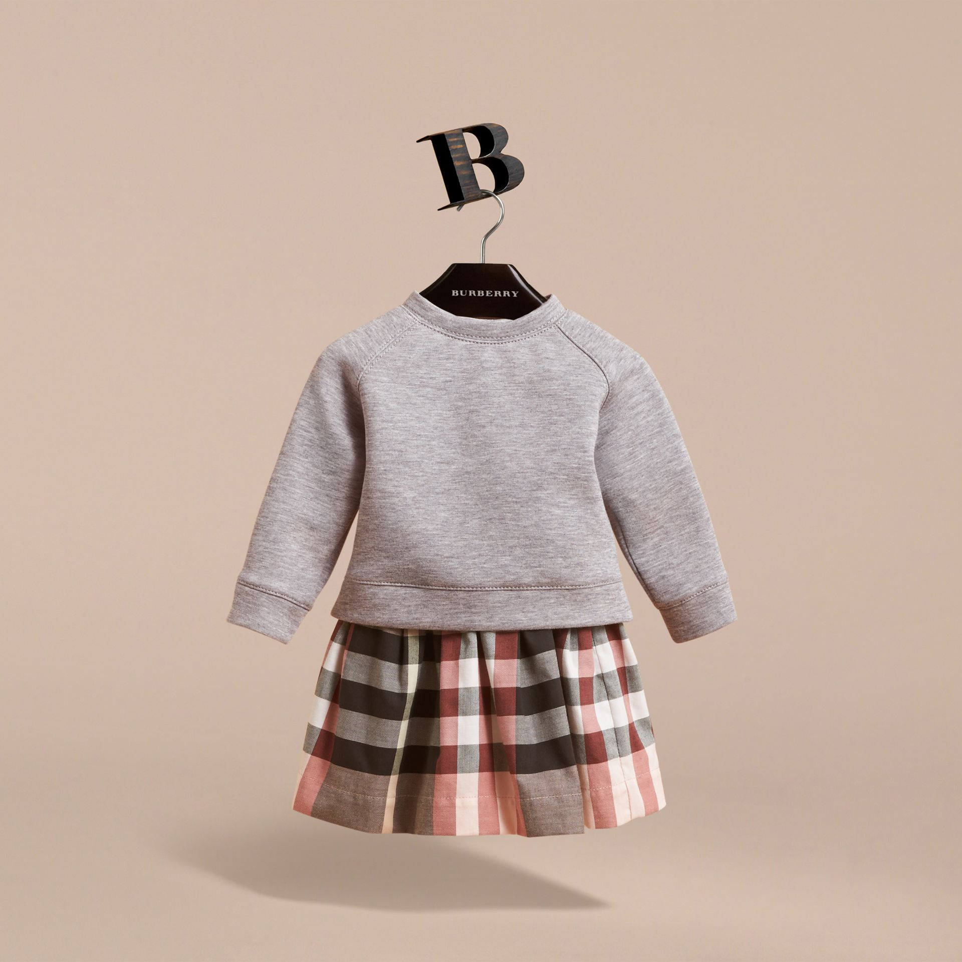 Contrast Check Sweater Dress in Dusty Pink | Burberry - gallery image 3