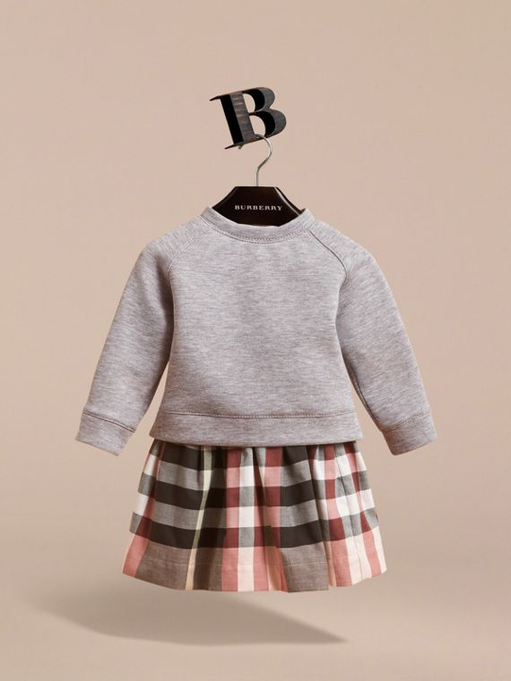 Contrast Check Sweater Dress in Dusty Pink | Burberry - cell image 2