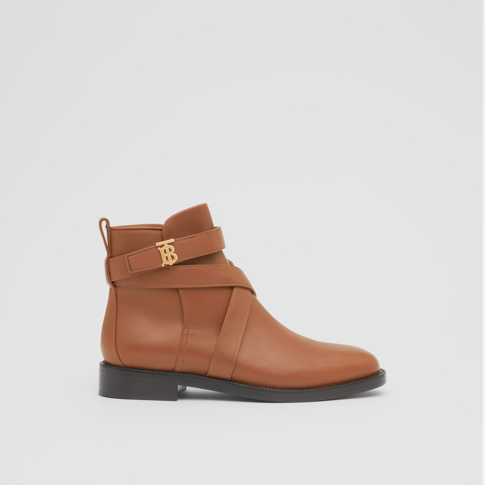 Monogram Motif Leather Ankle Boots in Tan - Women | Burberry - gallery image 4