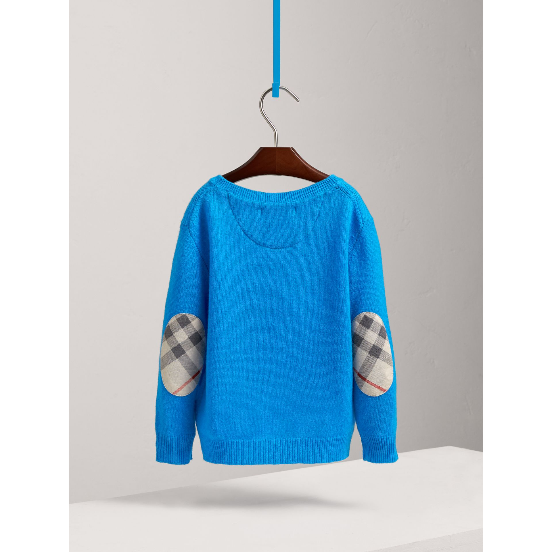 Check Elbow Patch Cashmere Sweater in Cyan Blue - Boy | Burberry - gallery image 3