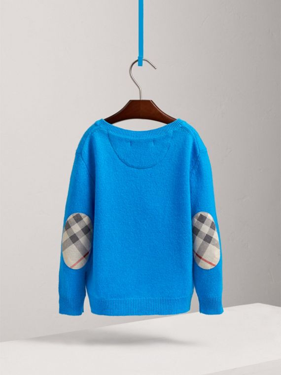 Check Elbow Patch Cashmere Sweater in Cyan Blue | Burberry - cell image 3