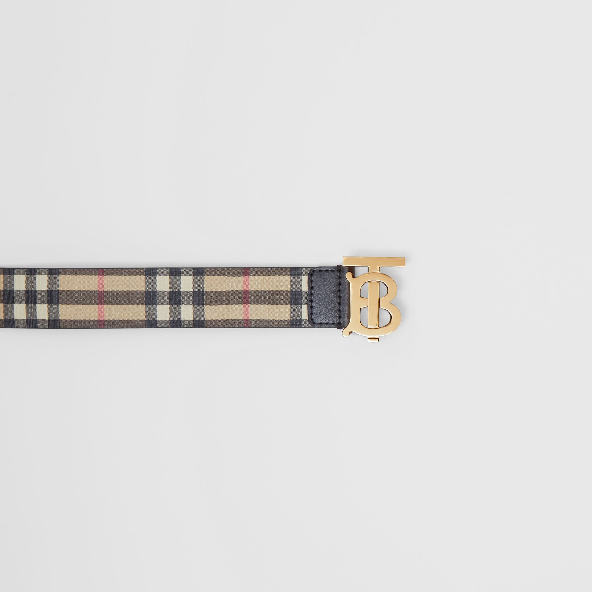 Monogram Motif Vintage Check E-canvas Belt in Archive Beige - Women | Burberry Canada - gallery image 1
