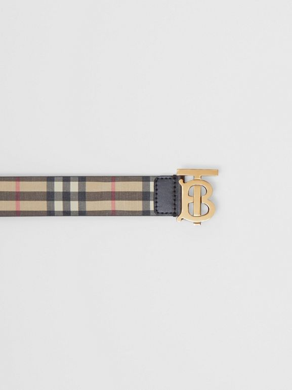 Monogram Motif Vintage Check E-canvas Belt in Archive Beige - Women | Burberry - cell image 1