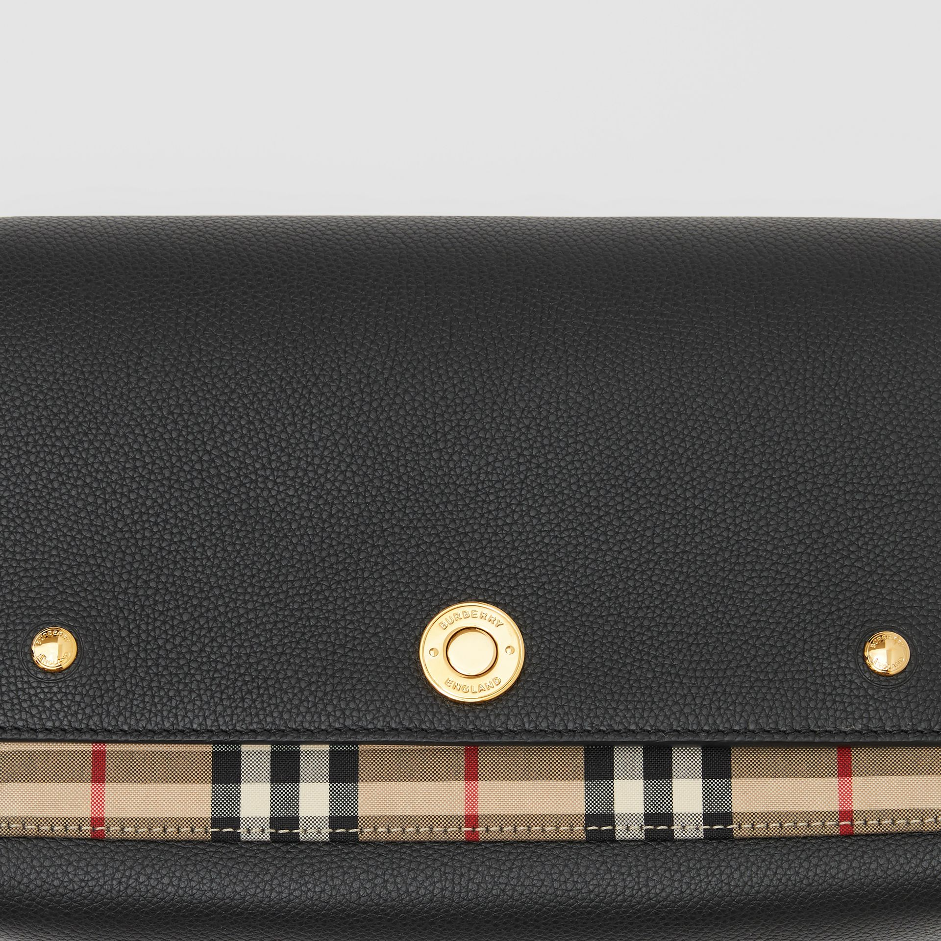 Leather and Vintage Check Note Crossbody Bag in Black - Women | Burberry Singapore - gallery image 1