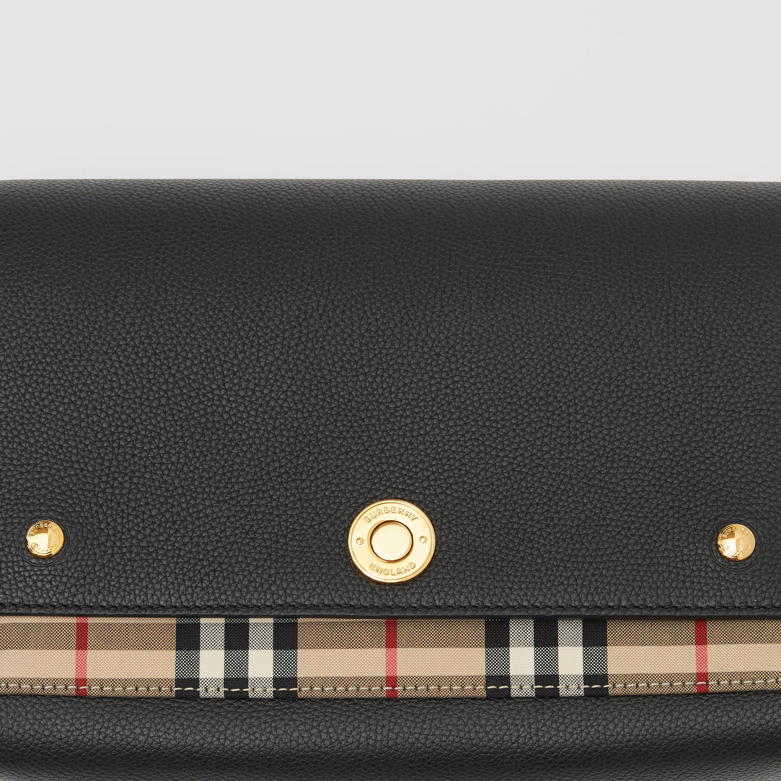 Leather and Vintage Check Note Crossbody Bag in Black | Burberry - 2