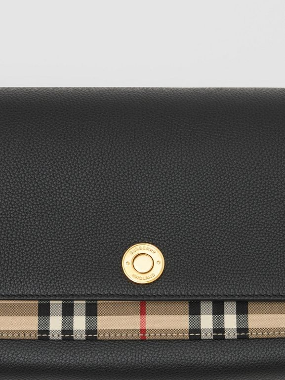 Leather and Vintage Check Note Crossbody Bag in Black - Women | Burberry - cell image 1