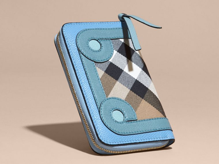 Bright mineral blue Grainy Leather Appliqué House Check Ziparound Wallet - cell image 4