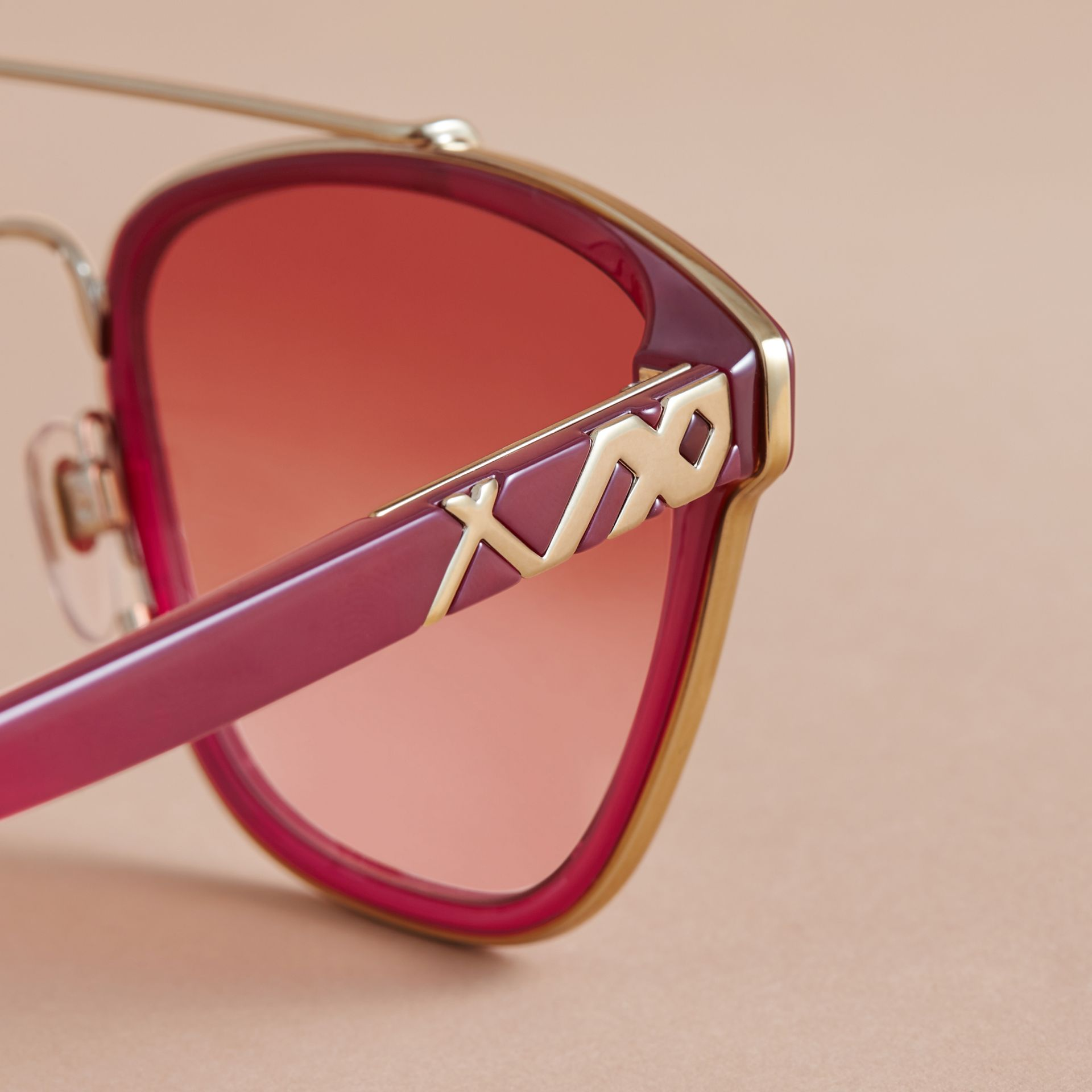 Top Bar Square Frame Sunglasses Red - gallery image 2