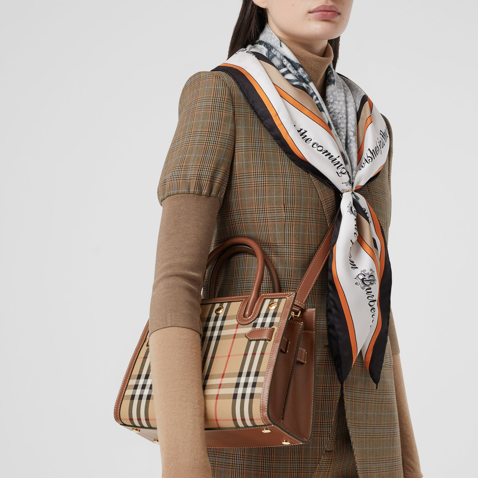Mini Vintage Check Two-handle Title Bag in Archive Beige - Women | Burberry - gallery image 8