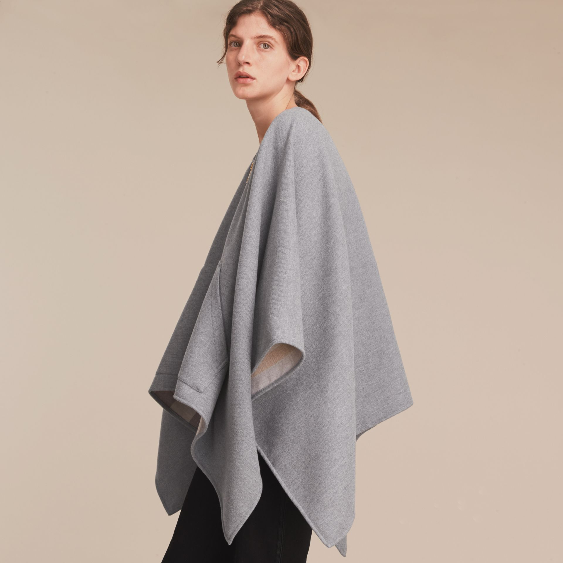 Merino Wool Poncho in Light Grey - Women | Burberry - gallery image 6