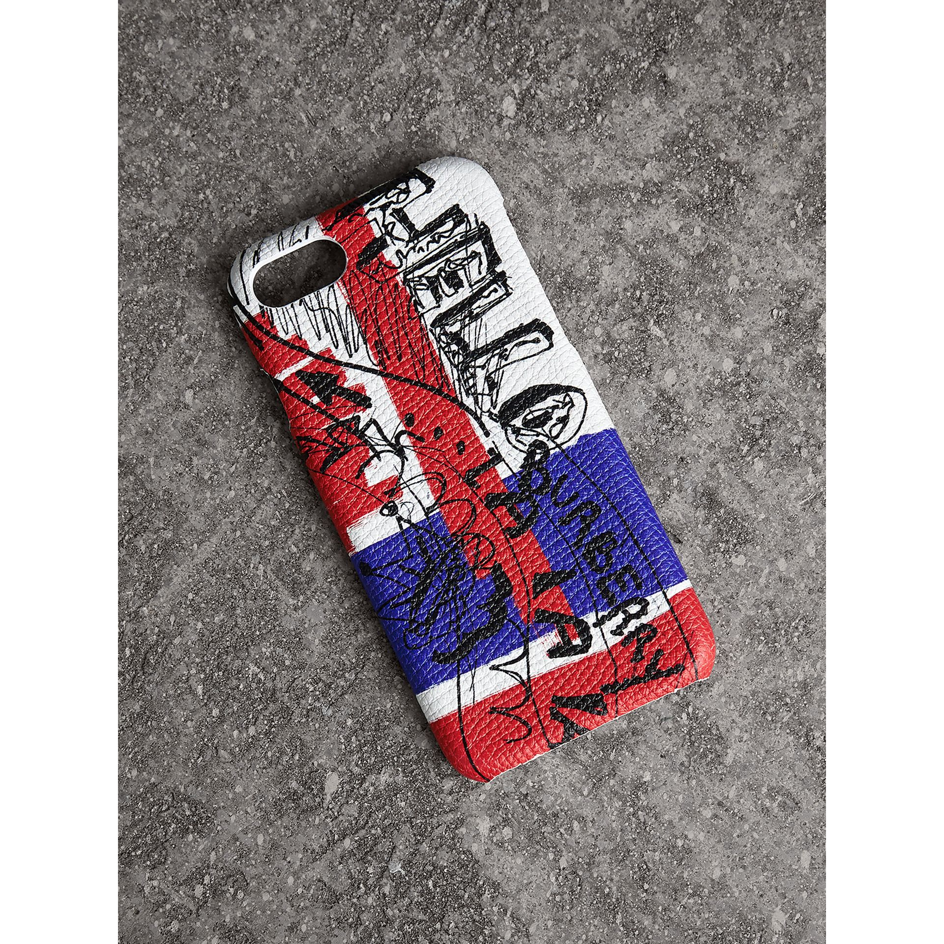 Doodle Print Leather iPhone 7 Case in Red/blue | Burberry - gallery image 1