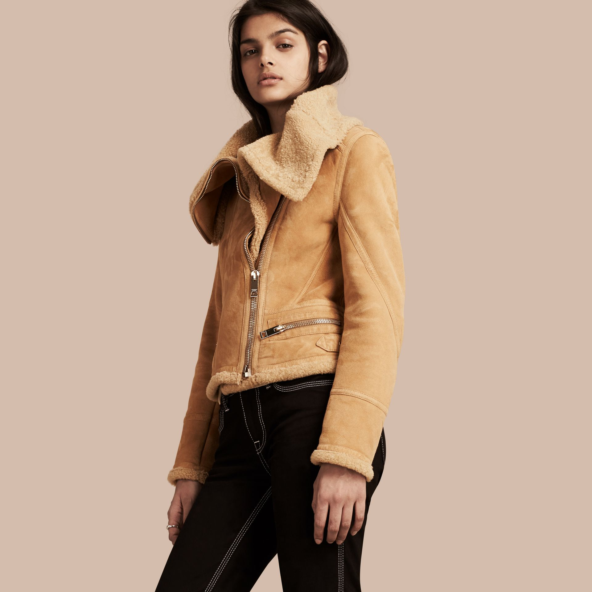 Honey Shearling Aviator Jacket - gallery image 1