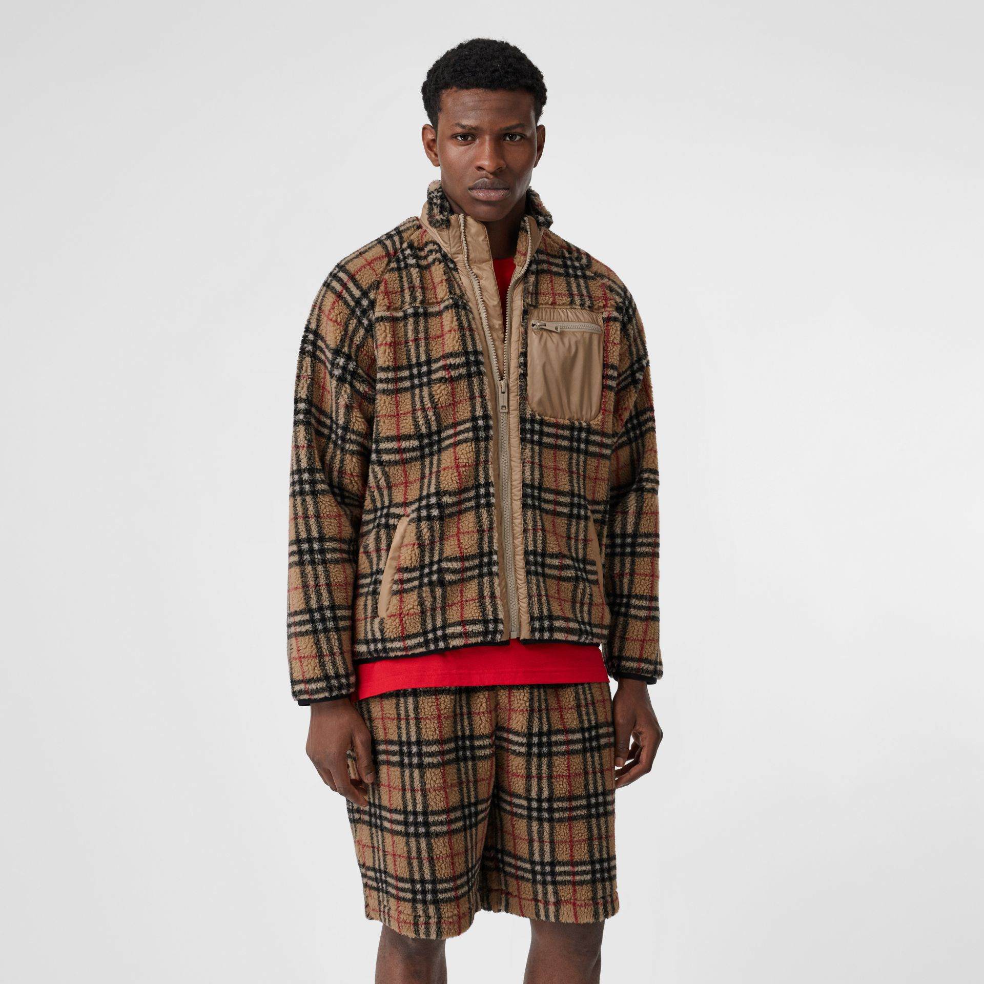 Vintage Check Fleece Jacket in Archive Beige - Men | Burberry United States - gallery image 4