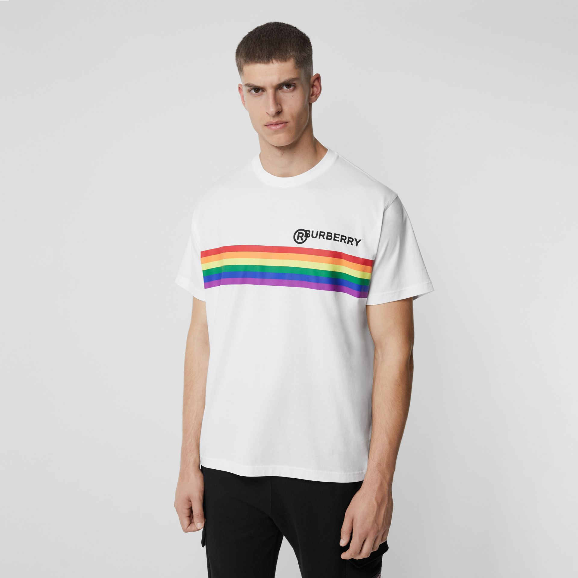 Rainbow Stripe Print Cotton Oversized T-shirt in White | Burberry Australia - gallery image 4