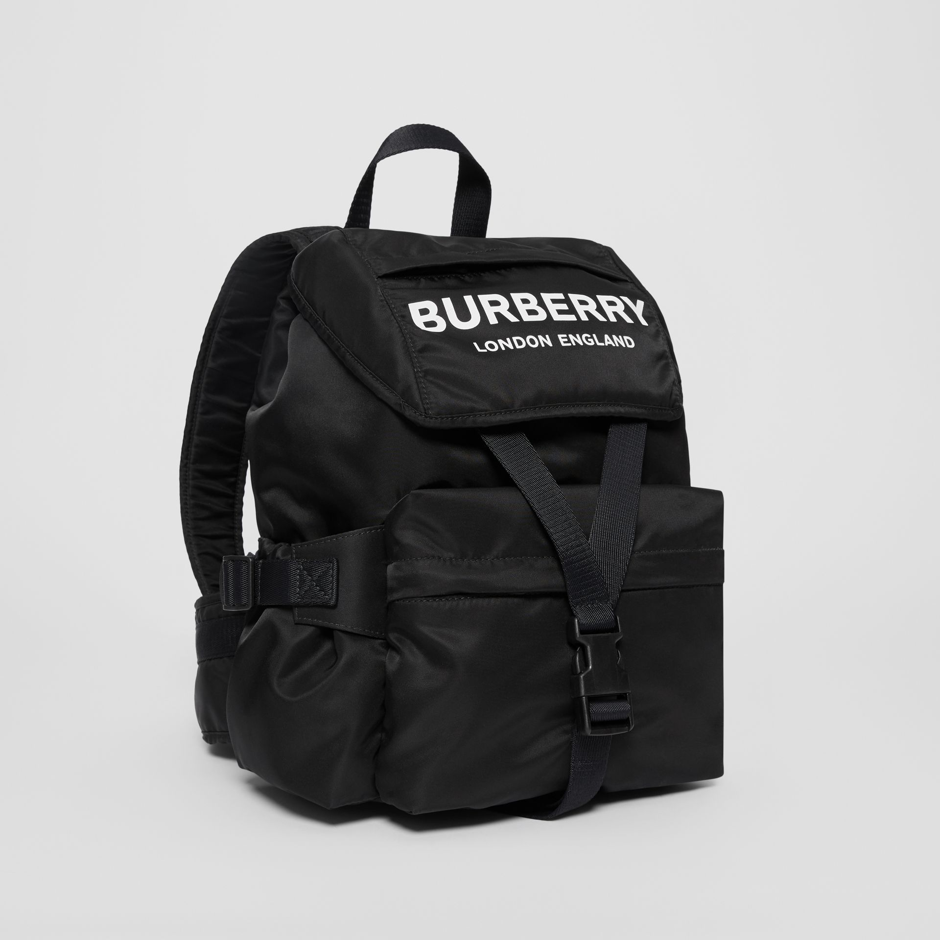 Logo Print Nylon Backpack in Black - Women | Burberry - gallery image 6