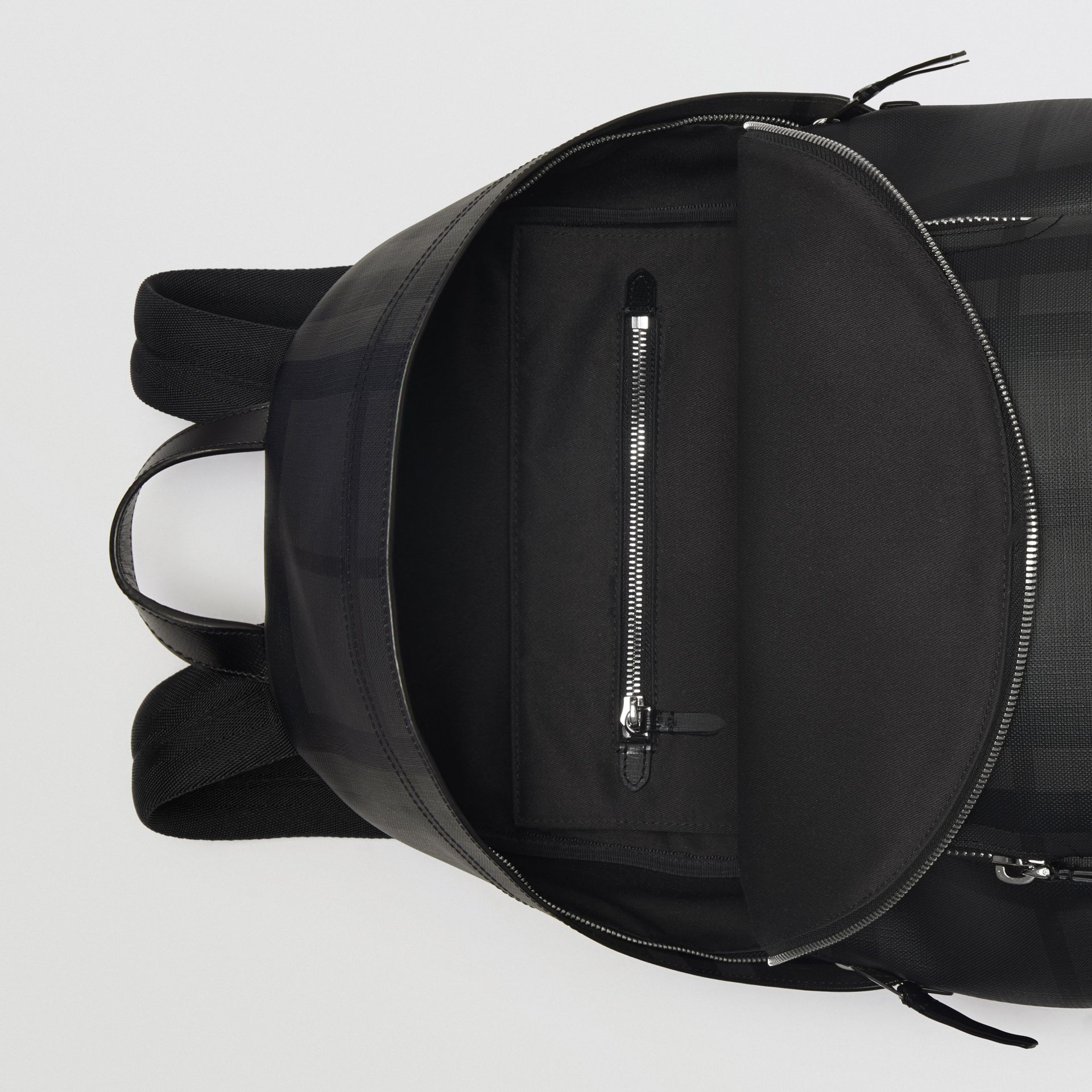 Leather Trim London Check Backpack in Charcoal/black - Men | Burberry Hong Kong - gallery image 3