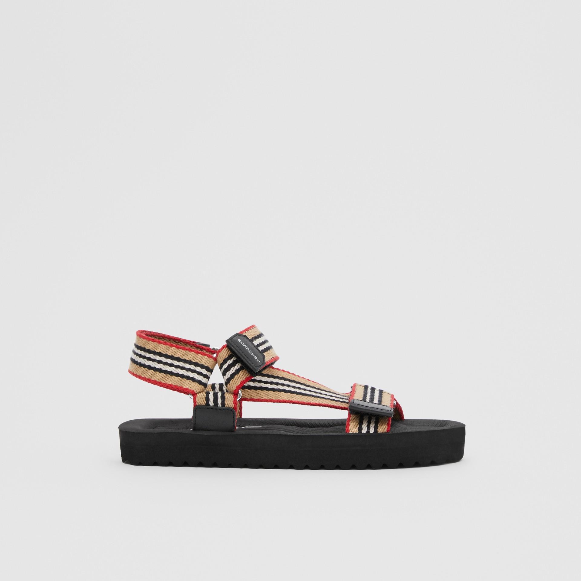Icon Stripe Sandals in Archive Beige - Children | Burberry - gallery image 3