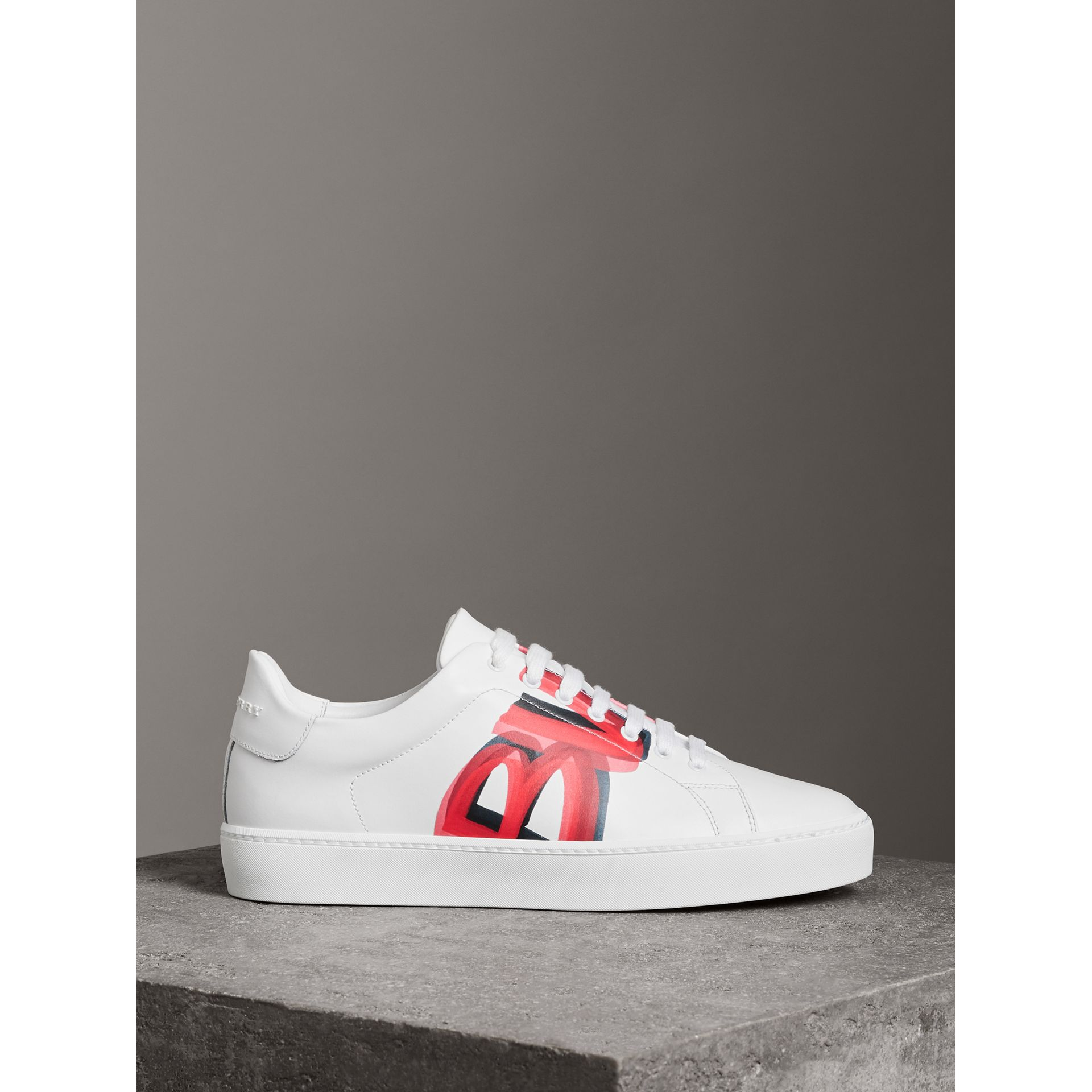 Graffiti Print Leather Sneakers in Bright Red - Women | Burberry - gallery image 4
