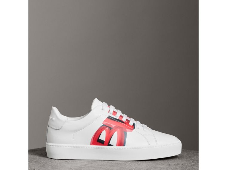 Graffiti Print Leather Sneakers in Bright Red - Women | Burberry - cell image 4