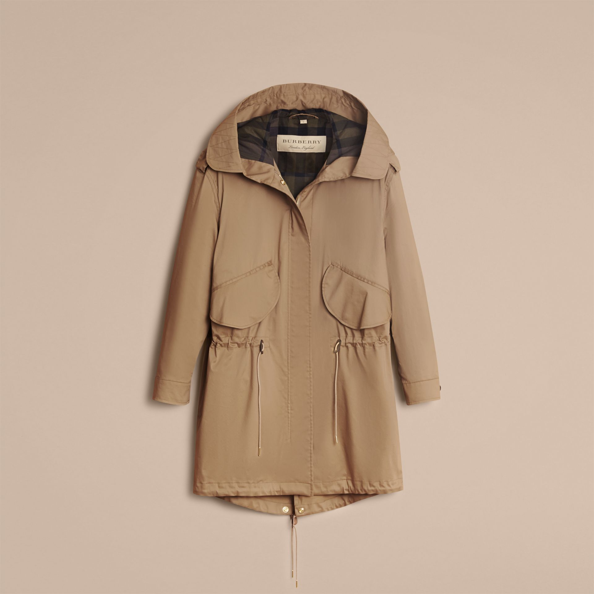 Hooded Water-resistant Parka in Flax Brown - Women | Burberry - gallery image 4