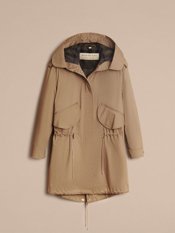 Hooded Water-resistant Parka in Flax Brown - Women | Burberry - cell image 3