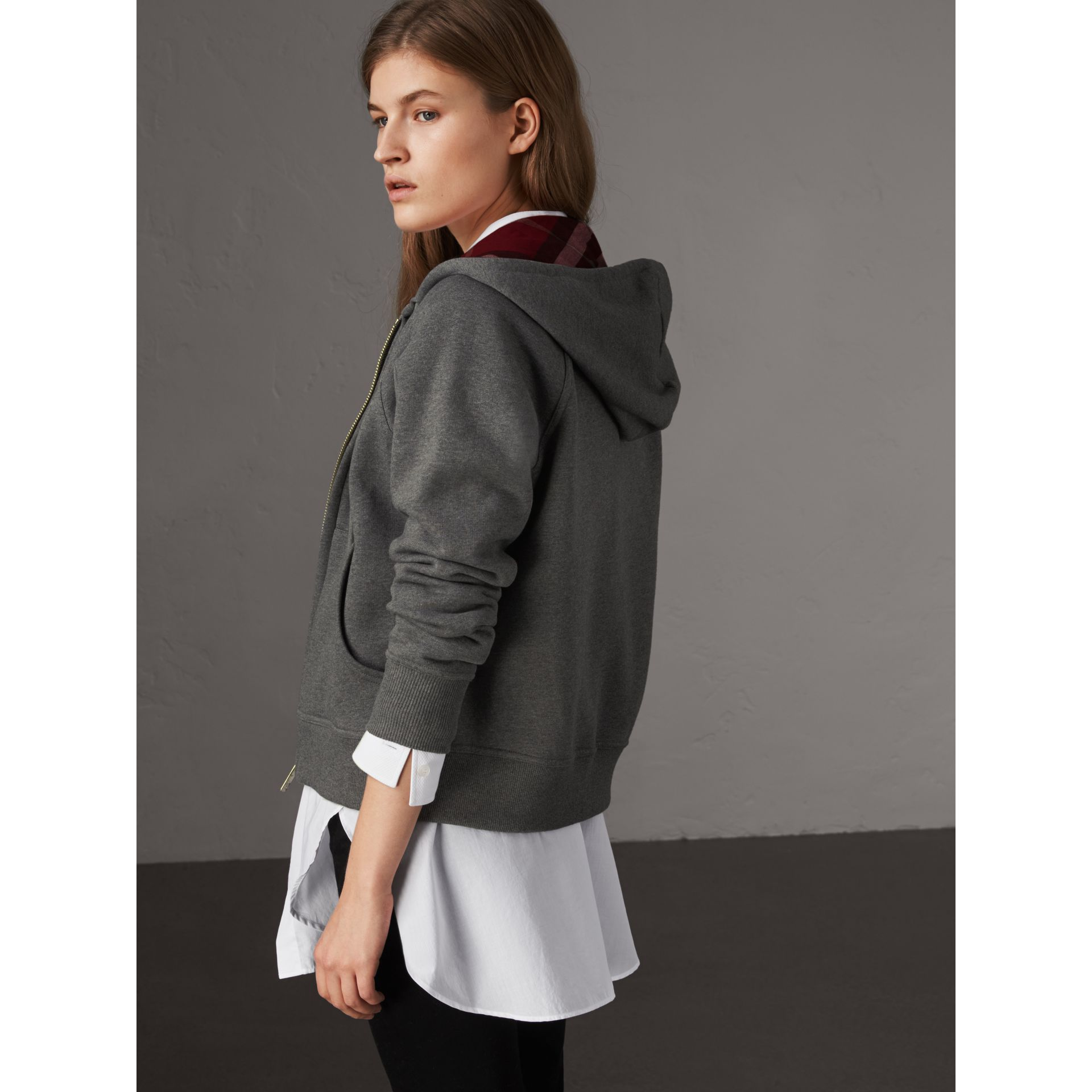 Hooded Zip-front Cotton Blend  Sweatshirt in Mid Grey Melange - Women | Burberry United Kingdom - gallery image 2