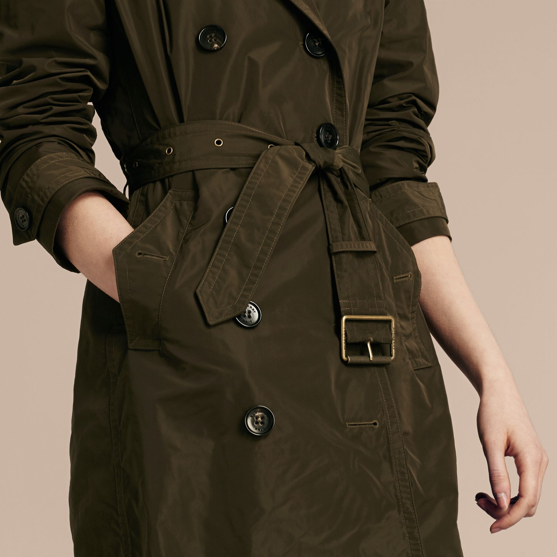 Taffeta Trench Coat with Detachable Hood in Dark Olive - Women | Burberry - gallery image 4