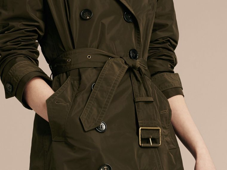 Taffeta Trench Coat with Detachable Hood in Dark Olive - Women | Burberry - cell image 4