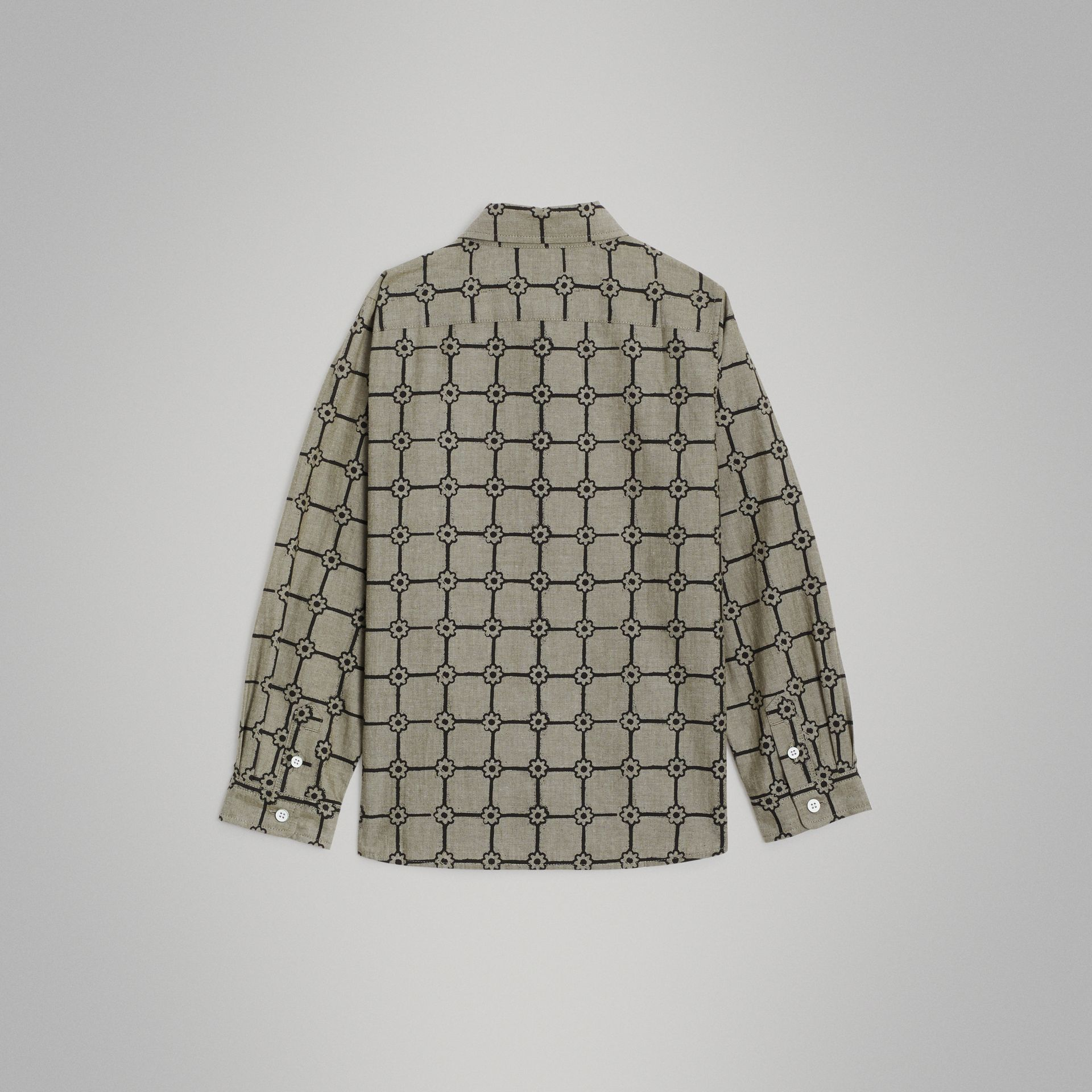 Flower Print Cotton Shirt in Khaki | Burberry - gallery image 3