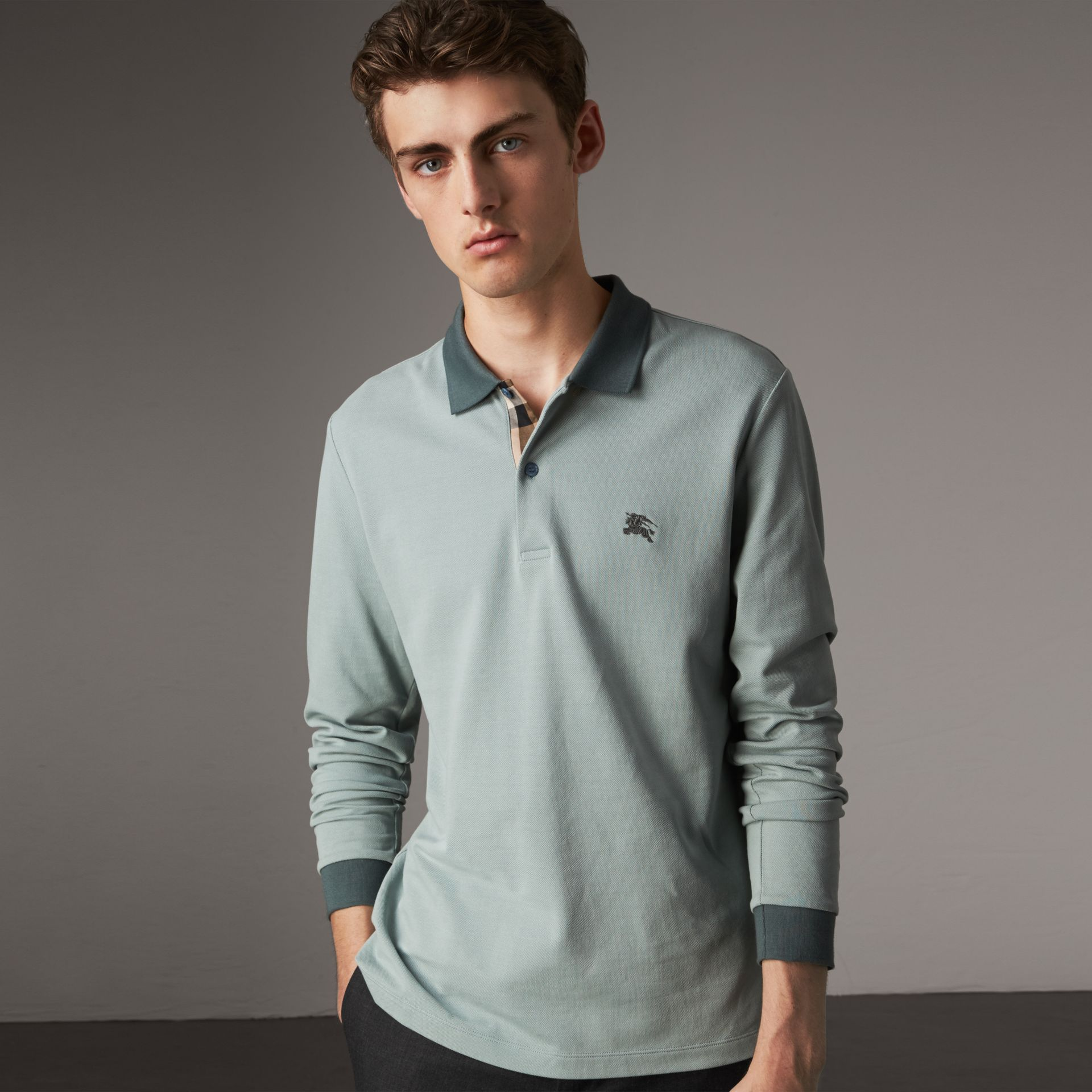 Long-sleeve Cotton Piqué Polo Shirt in Eucalyptus Green - Men | Burberry United Kingdom - gallery image 0